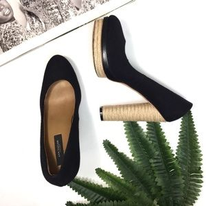 Ann Taylor Carly Black Espadrille Platform Pumps
